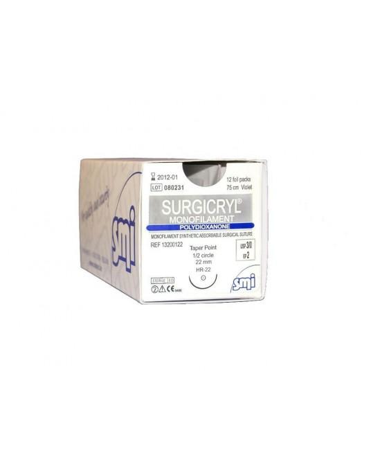 Surgicryl monofilament fioletowy z igłą odwrotnie tnącą (3/8 koła)