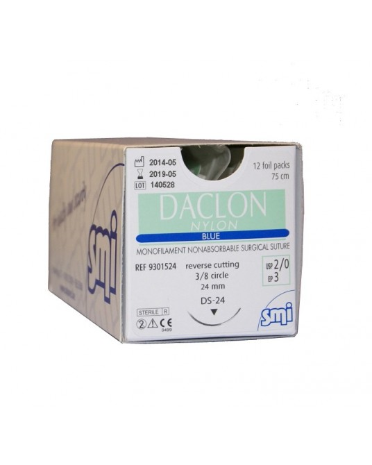 Daclon Nylon niebieski z igłą odwrotnie tnącą (3/8 koła), 12 saszetek