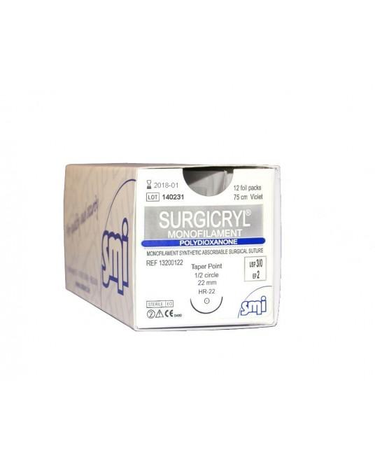 Surgicryl monofilament fioletowy z igłą okrągłą (1/2 koła)