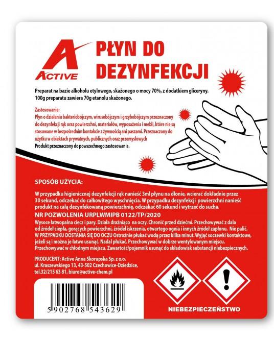 Płyn do dezynfekcji rąk oraz powierzchni Active 5L