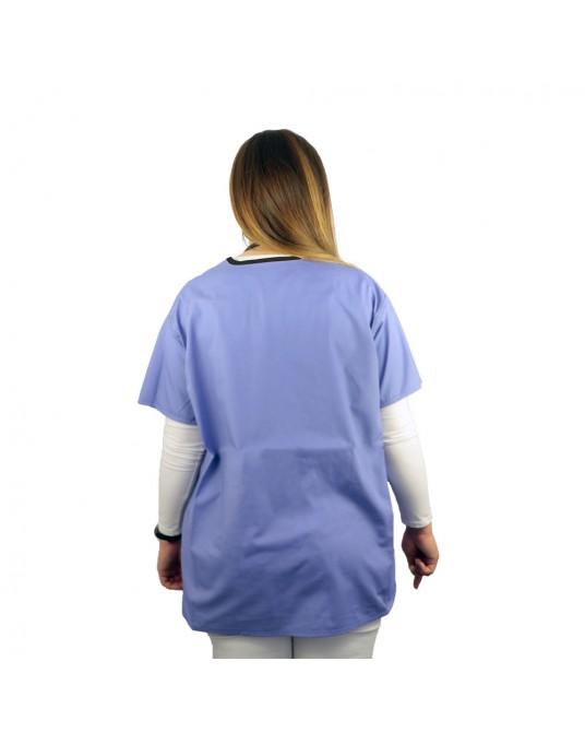 Bluzka lekarska niebieska rozmiar L (kołnierzyk w kolorze czarnym)