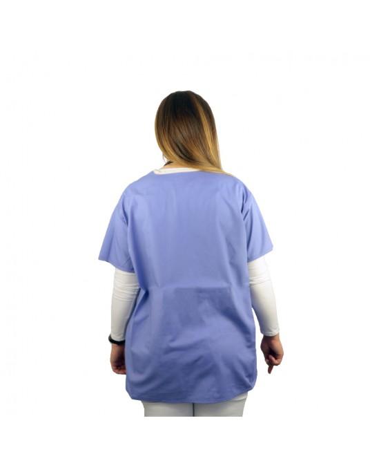 Bluzka lekarska niebieska rozmiar M (kołnierzyk w kolorze beżowym)