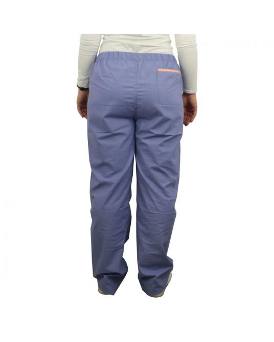 Spodnie lekarskie niebieskie rozmiar S (obszycie pomarańczowe)